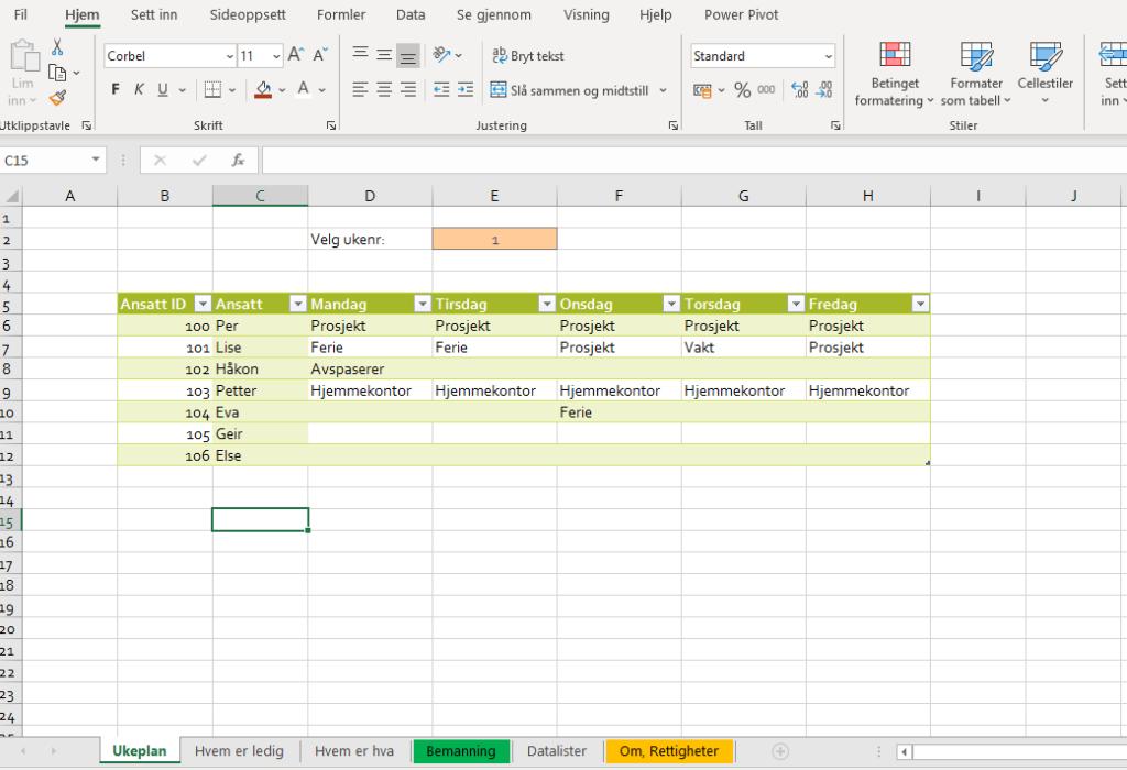 Bemanningsplan i Excel