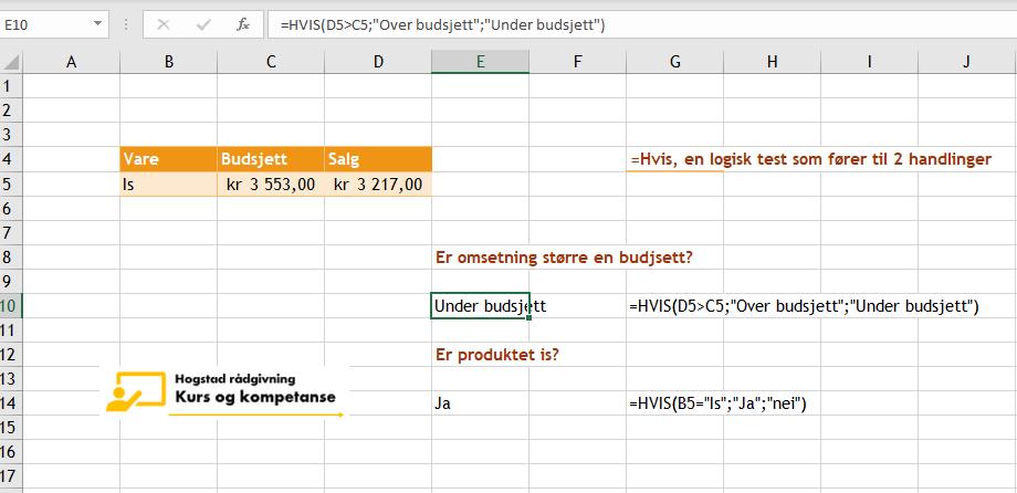 Excel funksjonen Hvis