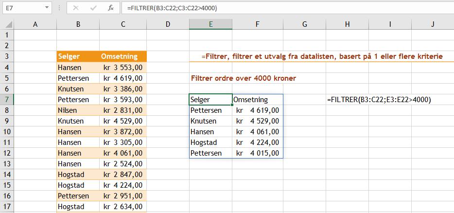 Excel funksjonen Filtrer
