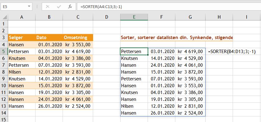 Excel funksjonen Sorter