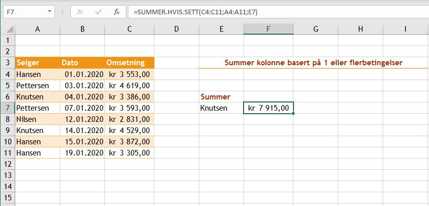 Excel funksjonen Summer hvis sett