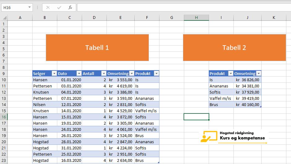 Slå opp flere verdier i Excel