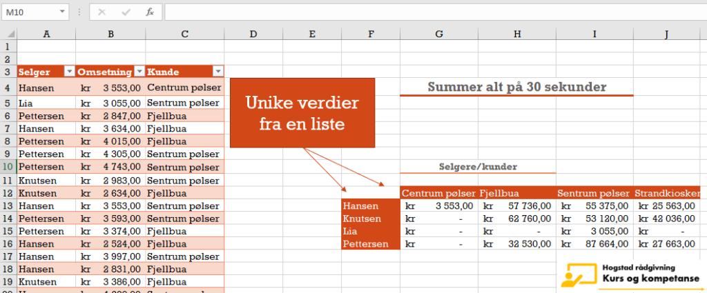 lage unik liste i Excel