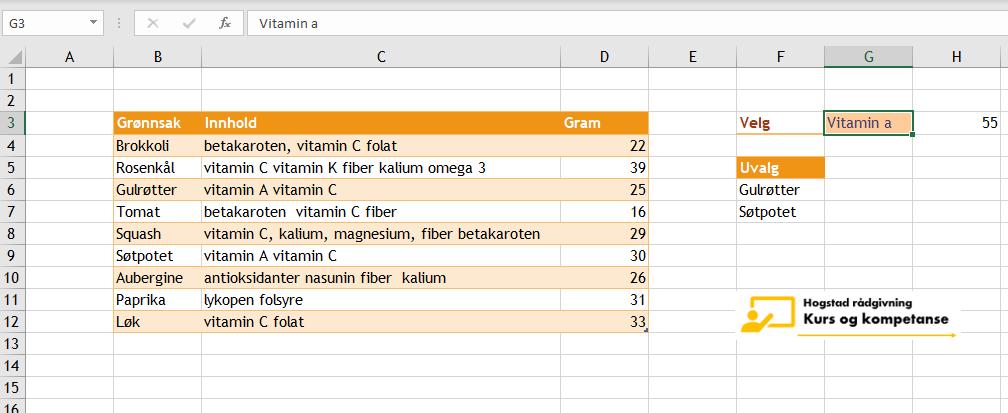 Excel celle inneholder bestemt tekst