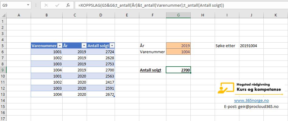 Excel slå opp flere verdier