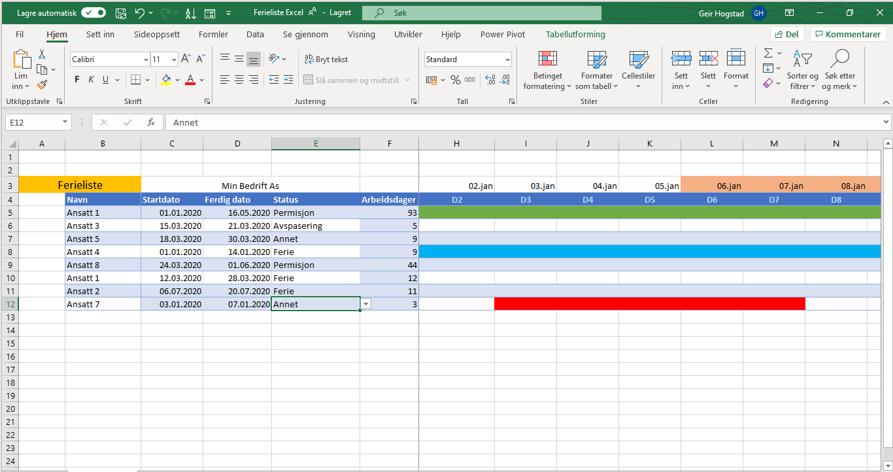 Ferieplan i Excel