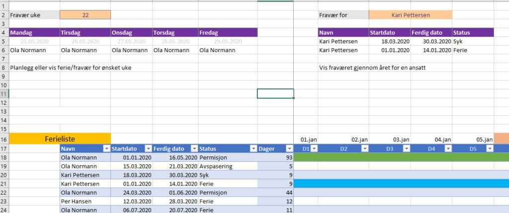 Ferieplan Excel
