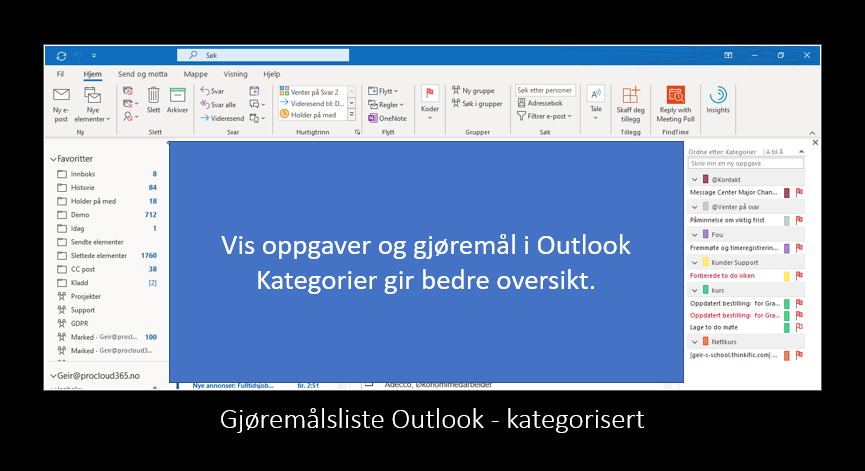 Gjøremålsliste i Outlook