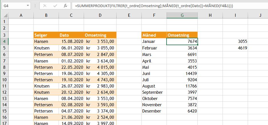 Summere måned Excel