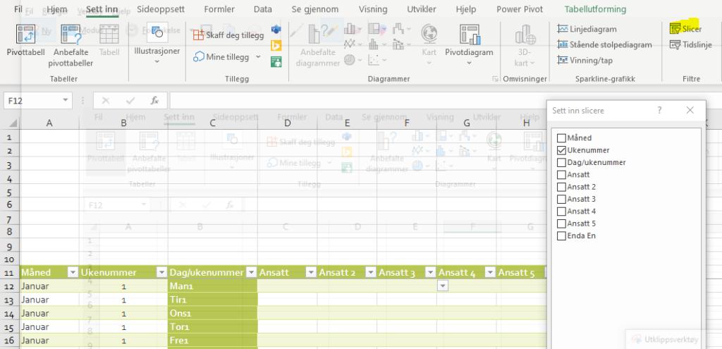 Sett inn Slicer for å filtrere i Excel