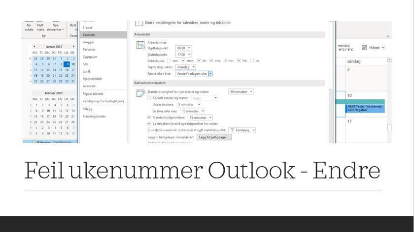 Feil ukenummer i Outlook