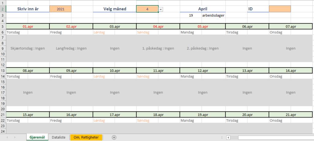 kalender med helligdager i Excel