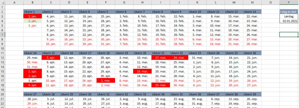 Ukekalender Excel