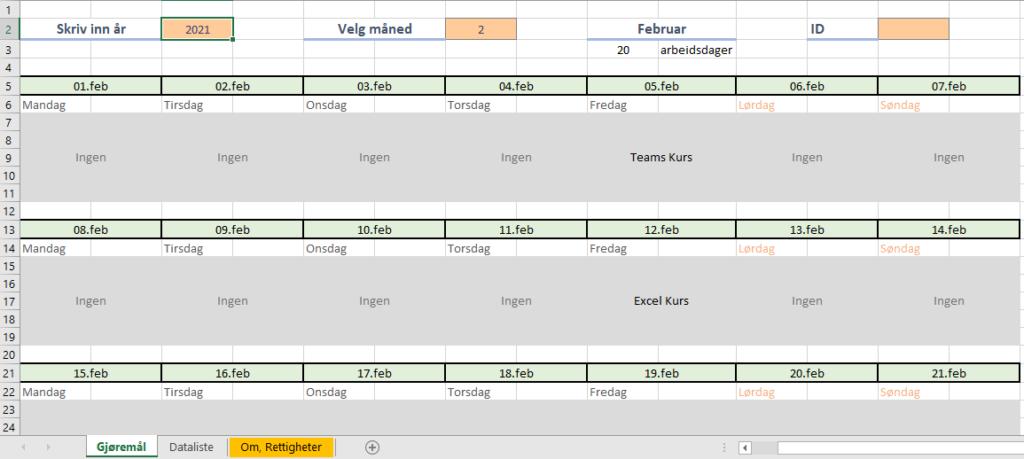Oppgavekalender i Excel