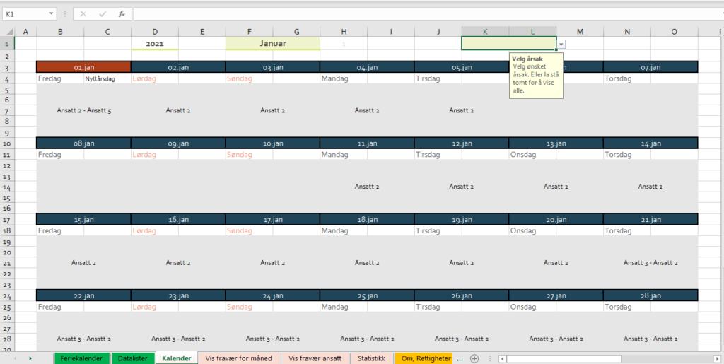 Feriekalender i Excel