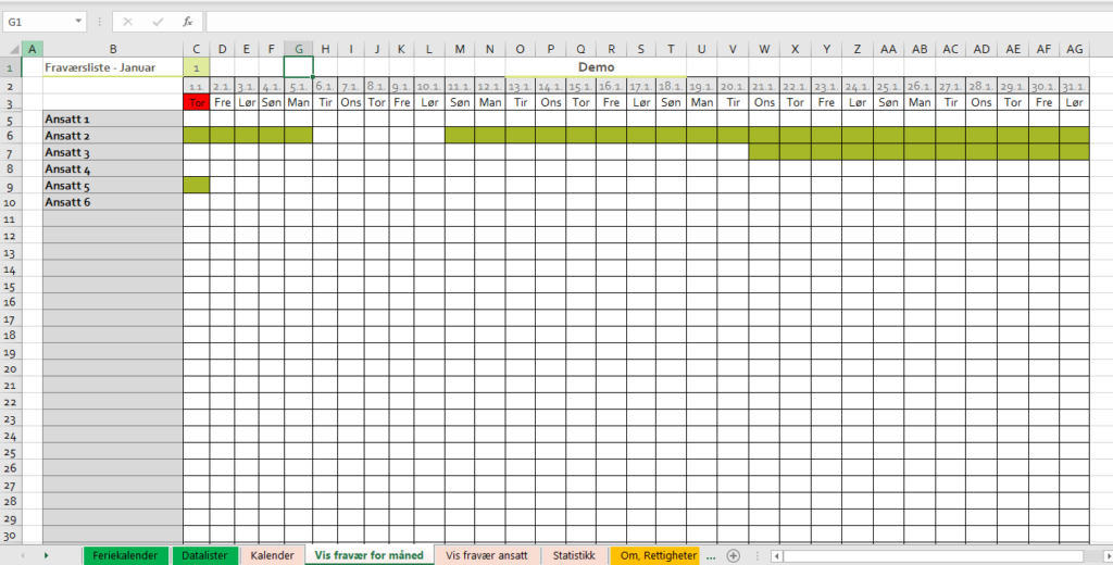 Ferieliste Excel