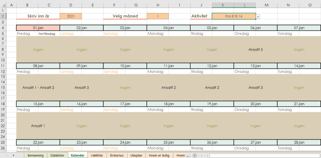 Turnuskalender i Excel
