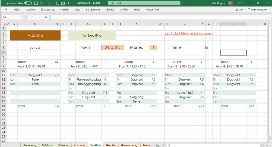 Vaktplan i Excel med turnus