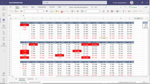 Excel kalender Teams