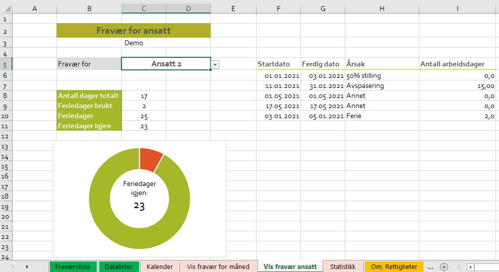 Fraværsstatistikk Excel