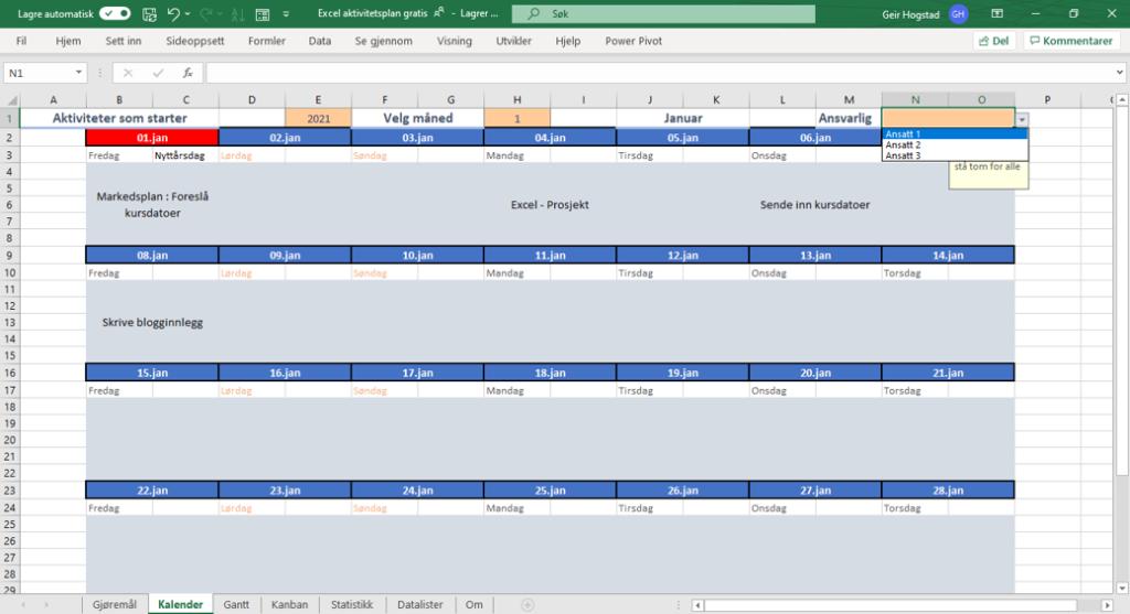 Publiseringskalender i Excel