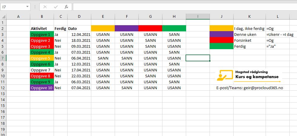 Betinget formatering i Excel basert på dato.
