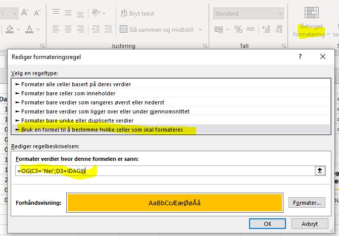 Excel betinget formatering regel