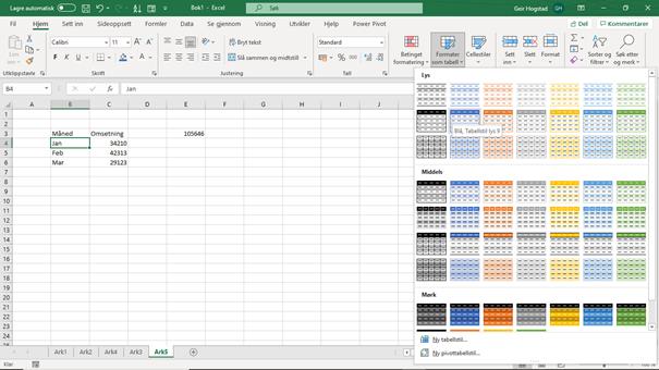 Lage en tabell i Excel