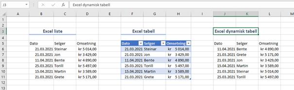 Lister, matriser og tabeller i Excel.