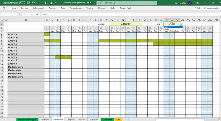 Ferieliste i Excel gantt.