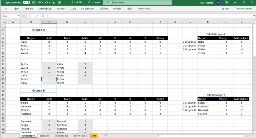 Gruppespill EM 2021 Excel