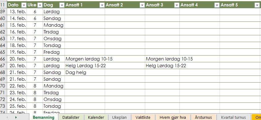 Helgeturnus i Excel