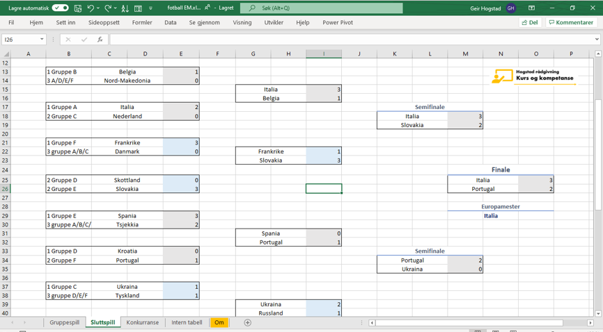 Sluttspill EM 2021 Excel