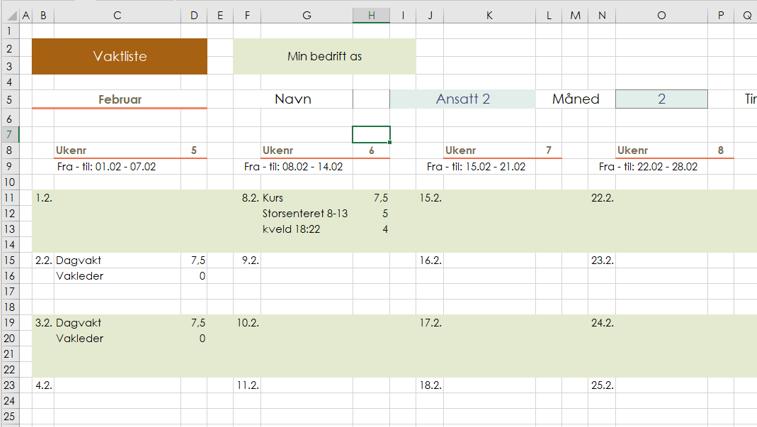 Arbeidsplan med vaktliste i Excel