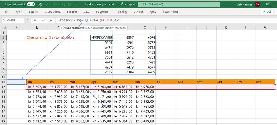 Excel funksjonen forskyvning.
