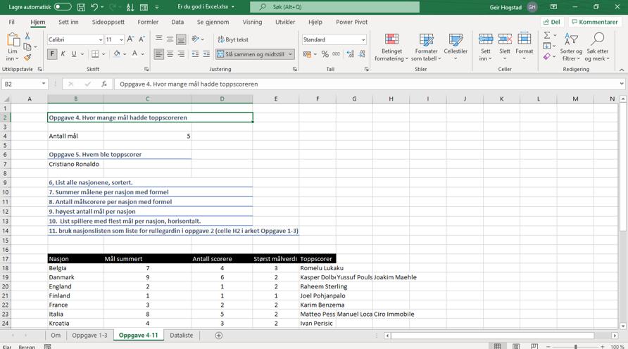 God i Excel - Oppgave 4 til 11