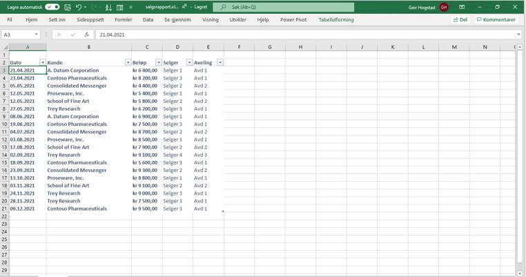 Salgsliste i Excel