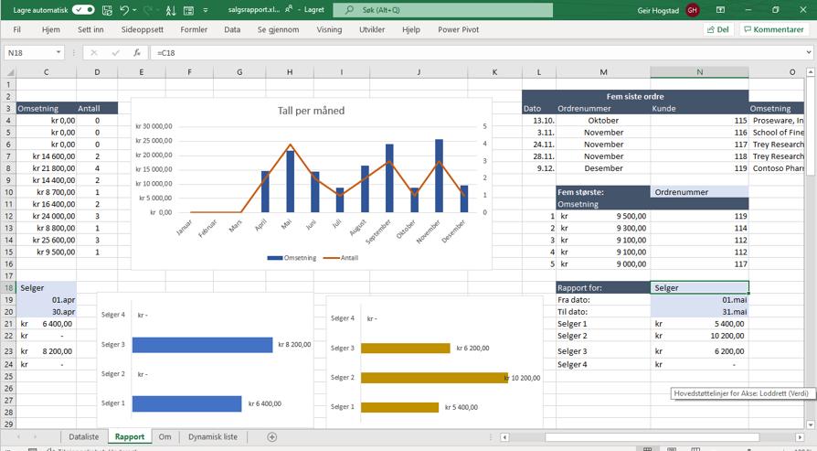 Salgsrapport i Excel