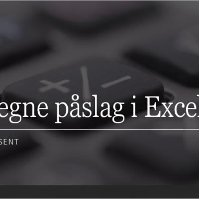 Beregne påslag i Excel.