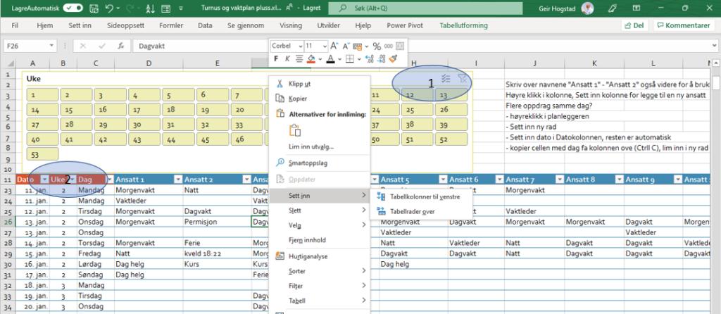 Gratis turnus og vaktplan Excel