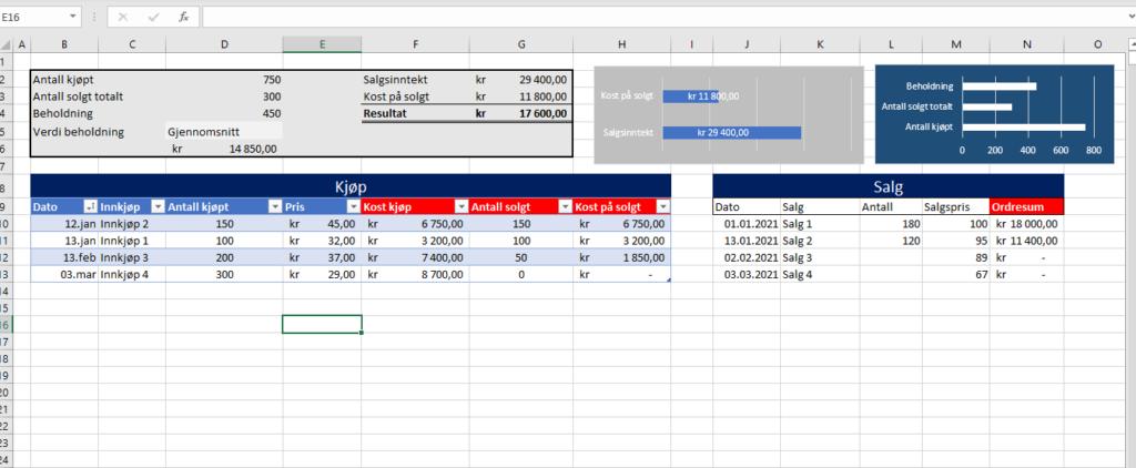 Fifo - Kostnad på Solgte varer i Excel