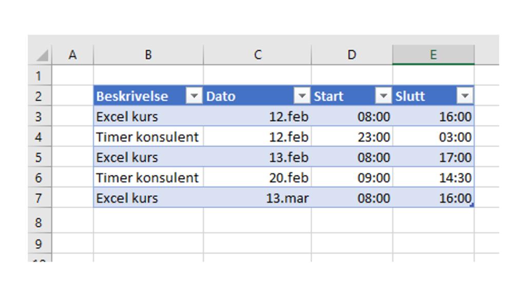 Skriv timeliste i Excel