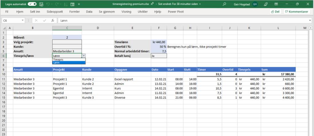 Timeliste ansatte og prosjekter