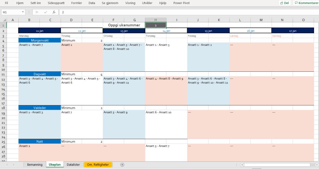 Ukeplan kalender.