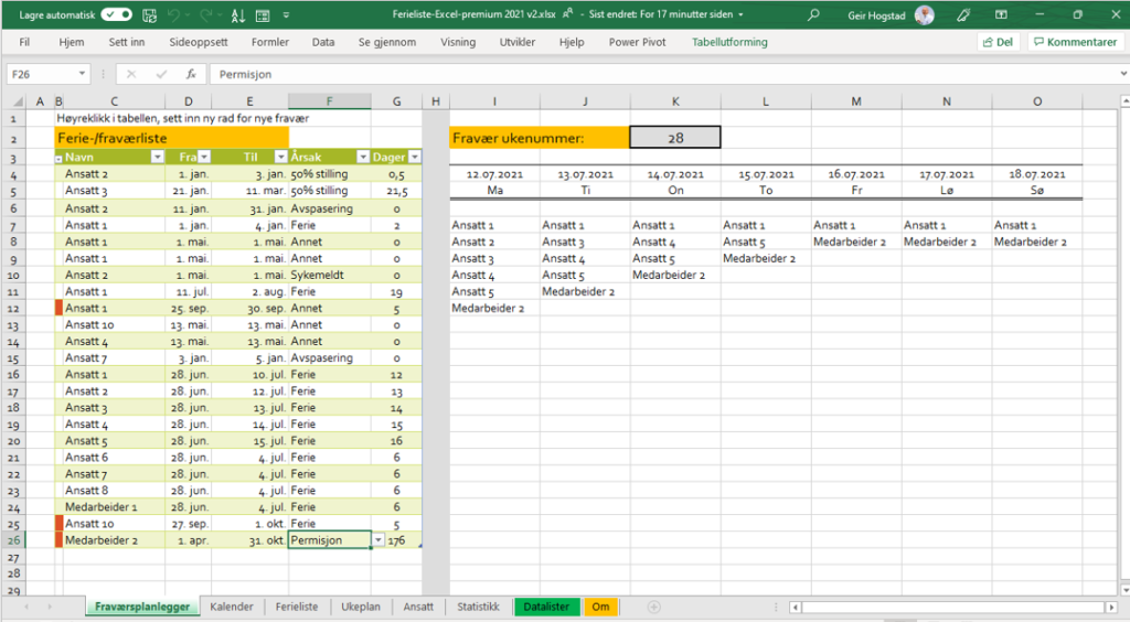 Ferie og fraværsplanlegger i Excel
