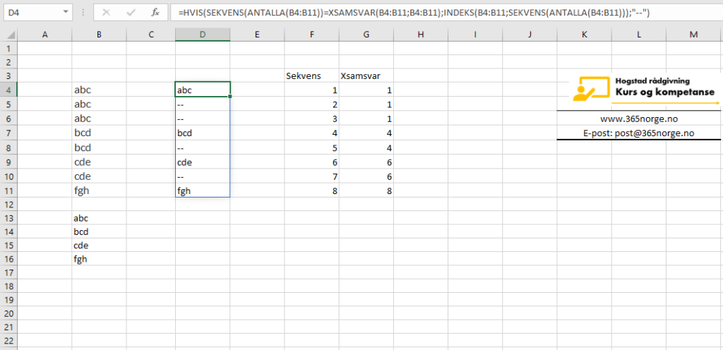 Fjern duplikater i Excel