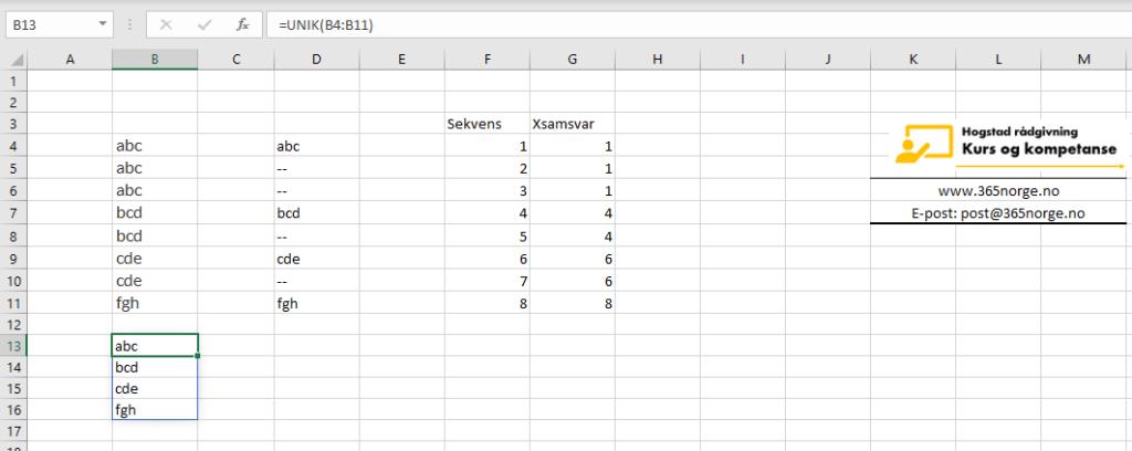 Lag en unik liste i Excel