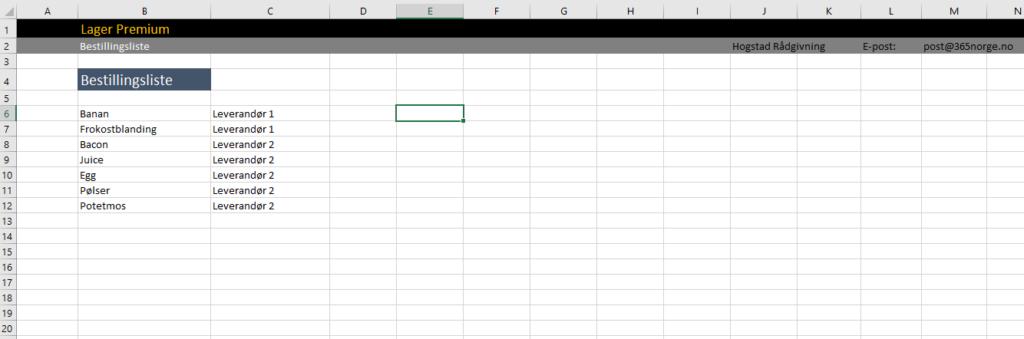 Bestillingsliste i Excel