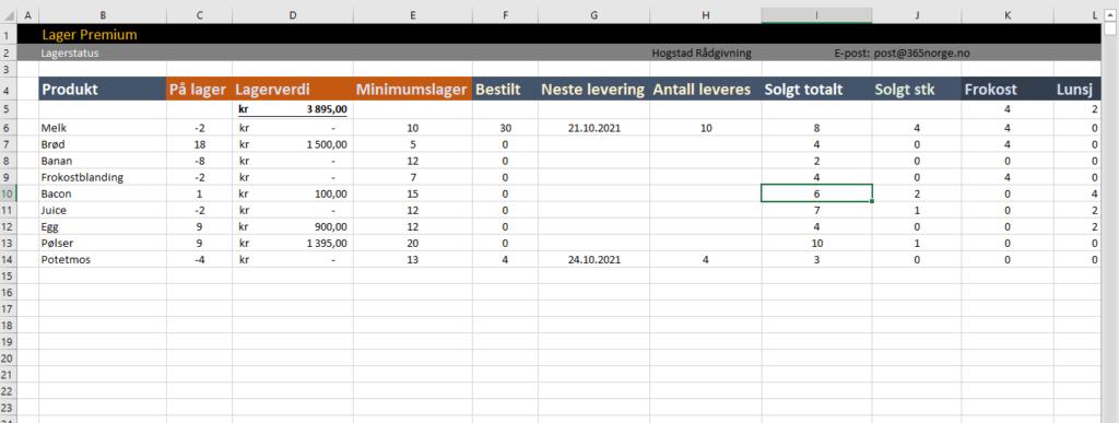 Lagerstatus i Excel
