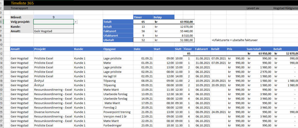 Timerapport i Excel